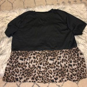 "Black & Leopard ""Peplum"" Top"